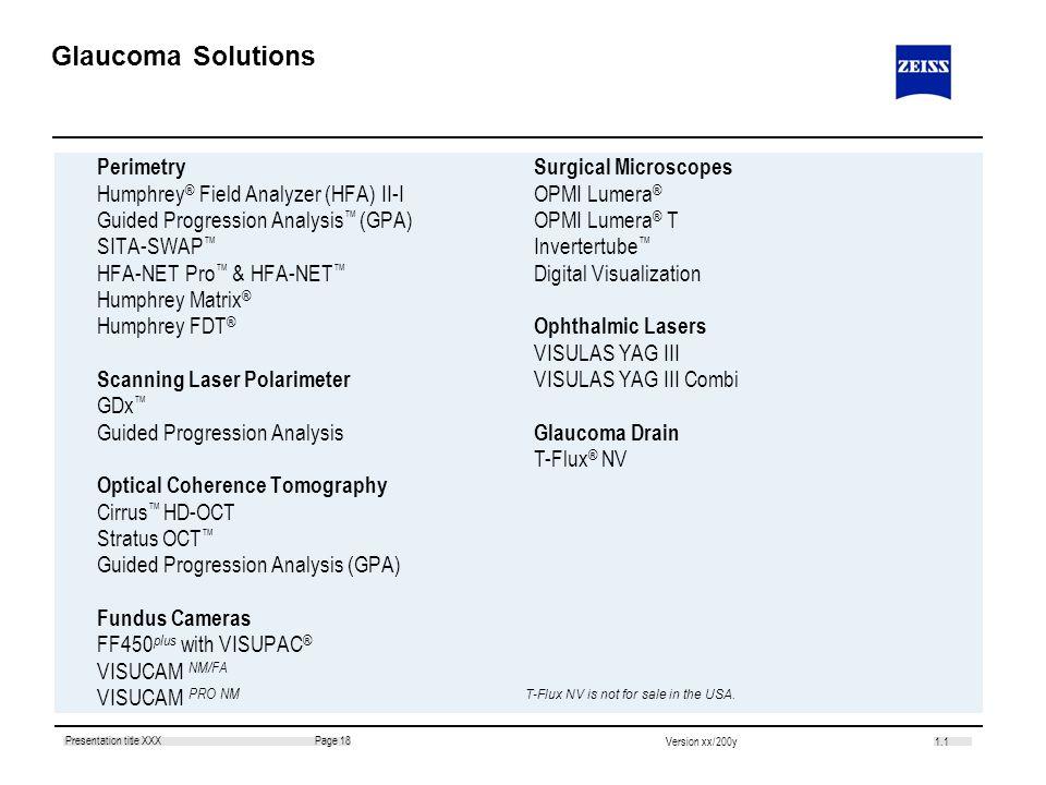 1.1 Page 18Presentation title XXX Version xx/200y Glaucoma Solutions Perimetry Humphrey ® Field Analyzer (HFA) II-I Guided Progression Analysis (GPA)