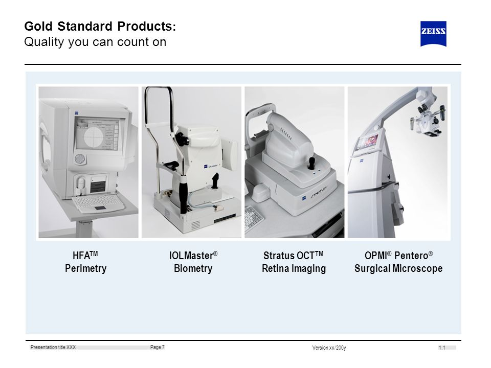 1.1 Page 7Presentation title XXX Version xx/200y Gold Standard Products : Quality you can count on HFA TM Perimetry IOLMaster ® Biometry Stratus OCT T