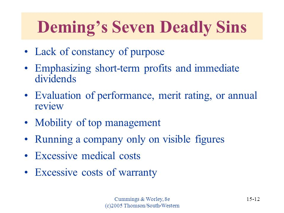 Cummings & Worley, 8e (c)2005 Thomson/South-Western 15-12 Demings Seven Deadly Sins Lack of constancy of purpose Emphasizing short-term profits and im