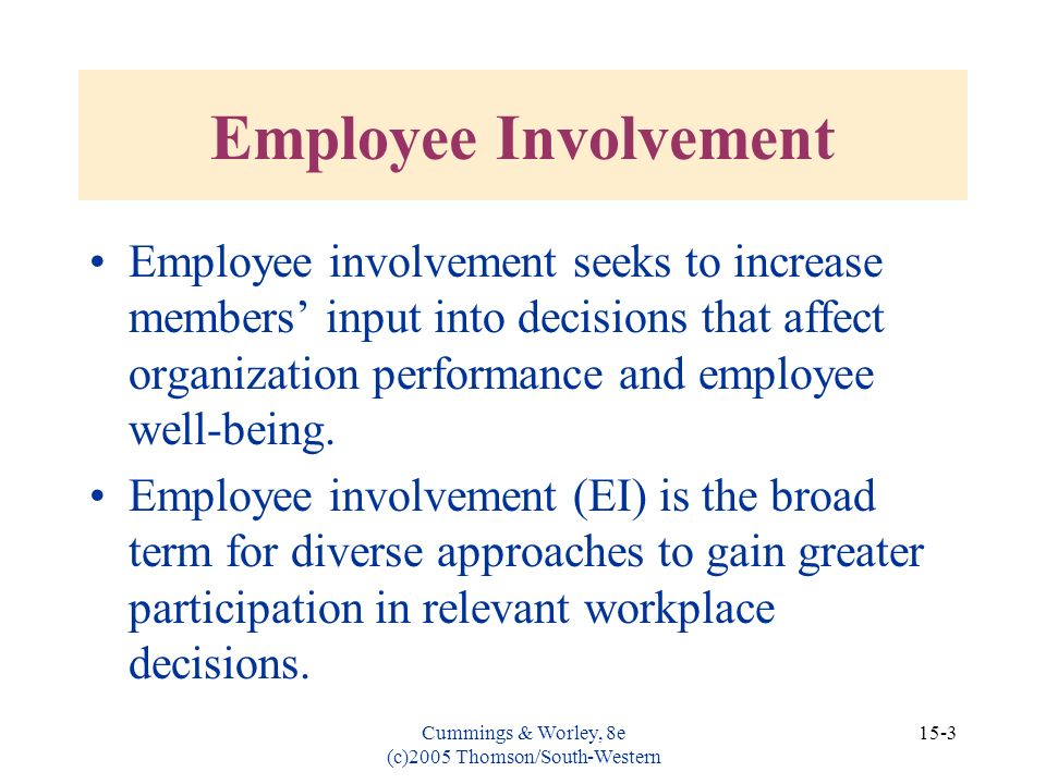 Cummings & Worley, 8e (c)2005 Thomson/South-Western 15-3 Employee Involvement Employee involvement seeks to increase members input into decisions that