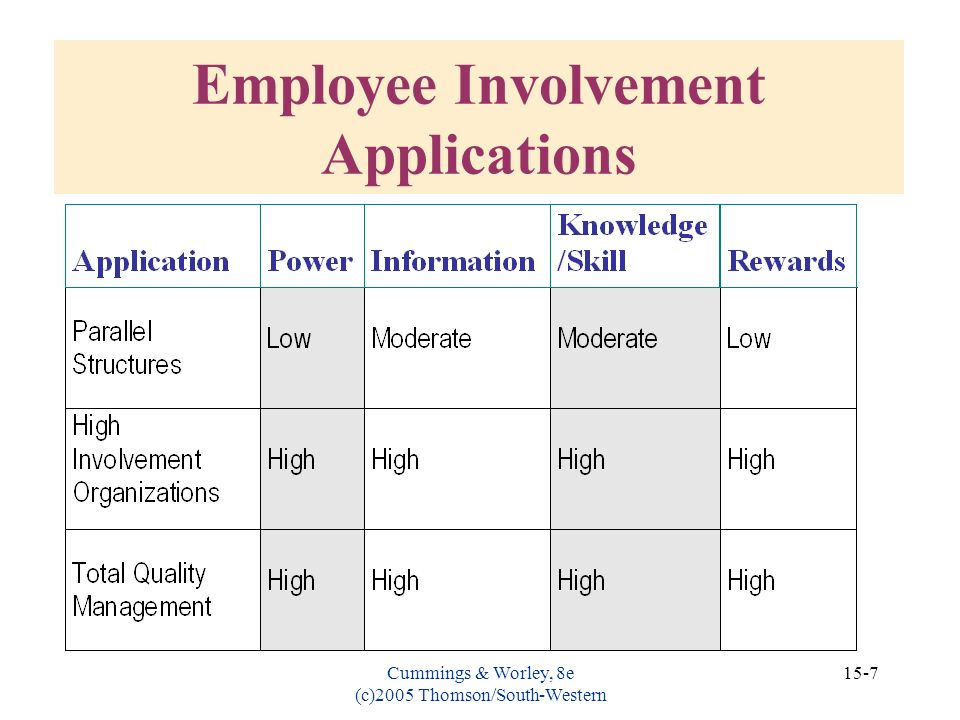 Cummings & Worley, 8e (c)2005 Thomson/South-Western 15-7 Employee Involvement Applications