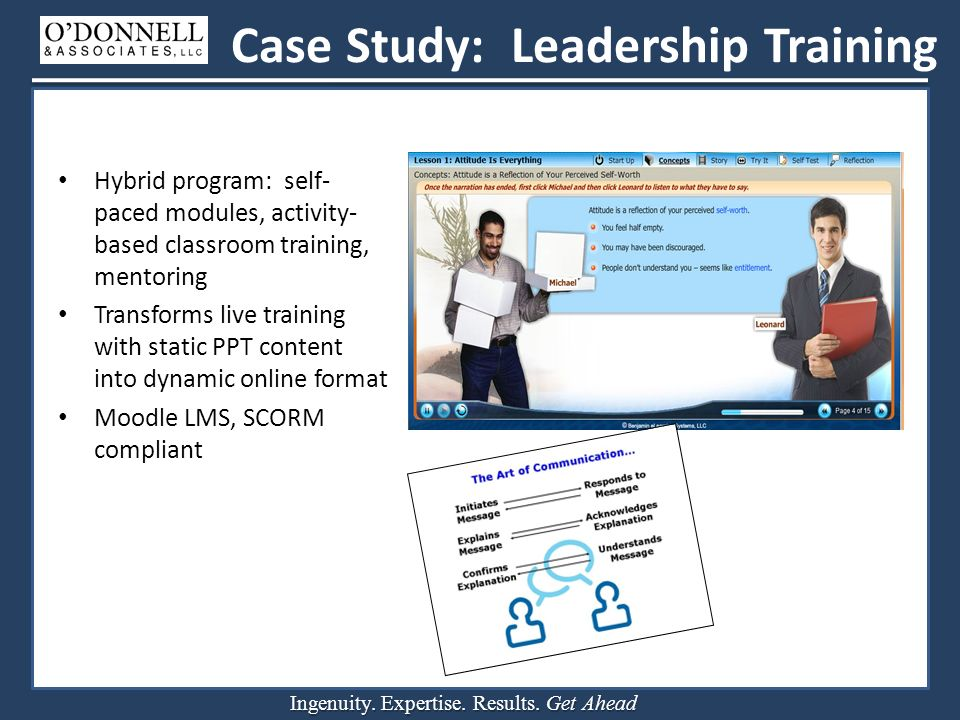 Ingenuity. Expertise. Results. Get Ahead Case Study: Leadership Training Hybrid program: self- paced modules, activity- based classroom training, ment