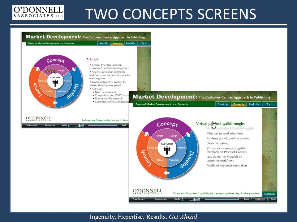 Ingenuity. Expertise. Results. Get Ahead TWO CONCEPTS SCREENS