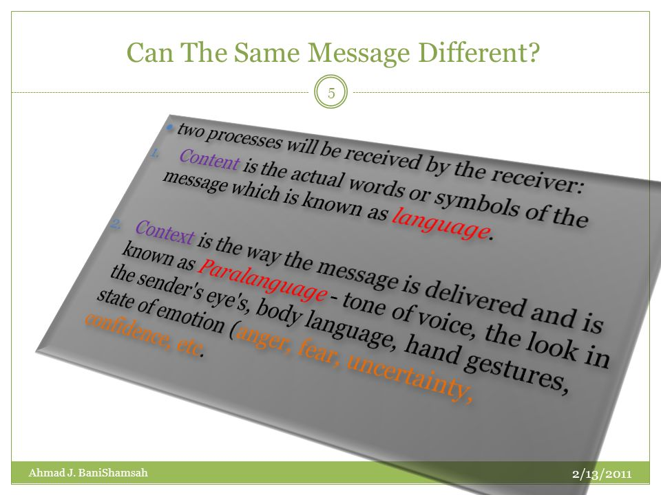 Can The Same Message Different? 2/13/2011 5 Ahmad J. BaniShamsah