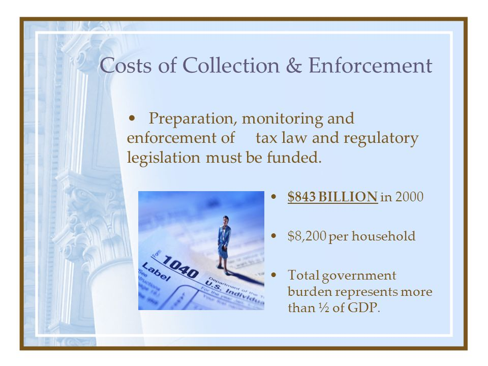 Costs of Collection & Enforcement $843 BILLION in 2000 $8,200 per household Total government burden represents more than ½ of GDP. Preparation, monito
