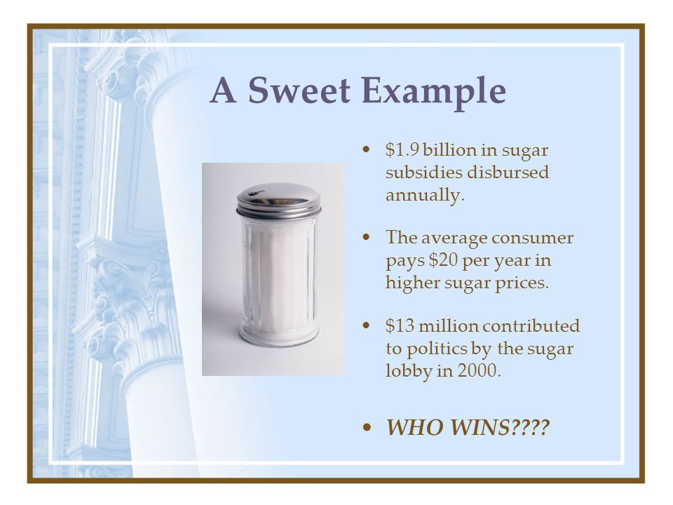 A Sweet Example $1.9 billion in sugar subsidies disbursed annually. The average consumer pays $20 per year in higher sugar prices. $13 million contrib
