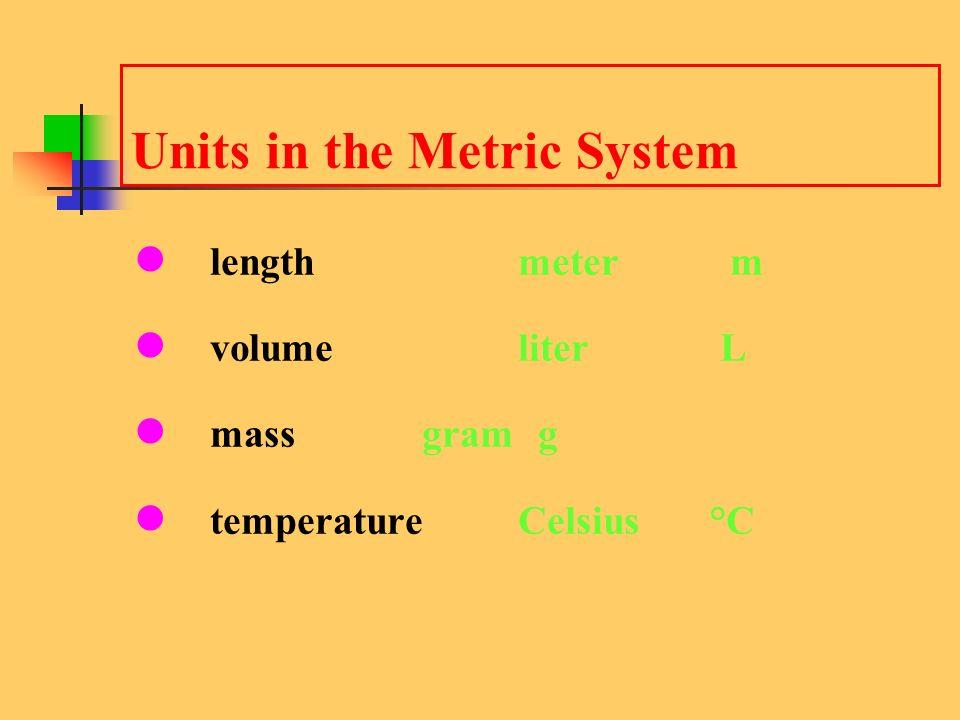 Units in the Metric System length meter m volumeliter L mass gram g temperatureCelsius °C