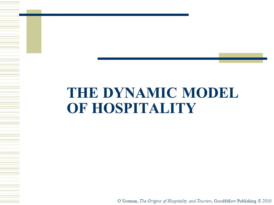 OGorman, The Origins of Hospitality and Tourism, Goodfellow Publishing © 2010 THE DYNAMIC MODEL OF HOSPITALITY