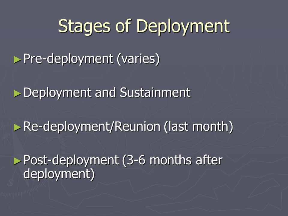 Stages of Deployment Pre-deployment (varies) Pre-deployment (varies) Deployment and Sustainment Deployment and Sustainment Re-deployment/Reunion (last month) Re-deployment/Reunion (last month) Post-deployment (3-6 months after deployment) Post-deployment (3-6 months after deployment)