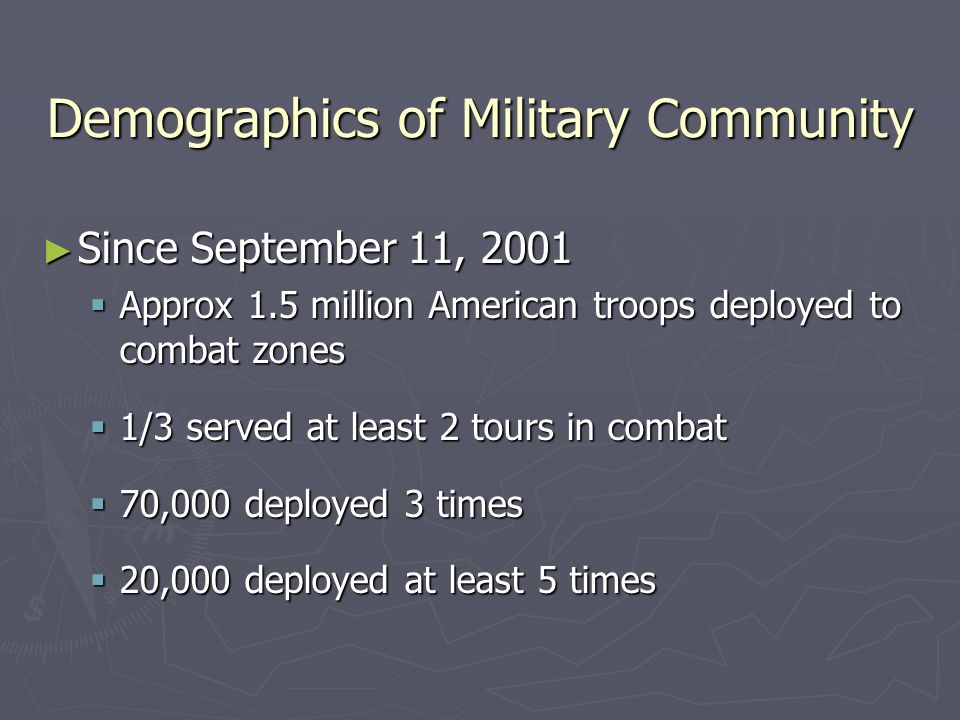 Demographics of Military Community Since September 11, 2001 Since September 11, 2001 Approx 1.5 million American troops deployed to combat zones Approx 1.5 million American troops deployed to combat zones 1/3 served at least 2 tours in combat 1/3 served at least 2 tours in combat 70,000 deployed 3 times 70,000 deployed 3 times 20,000 deployed at least 5 times 20,000 deployed at least 5 times