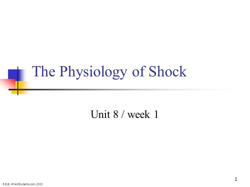 1 The Physiology of Shock Unit 8 / week 1 R.E.B, 4MedStudents.com, 2003