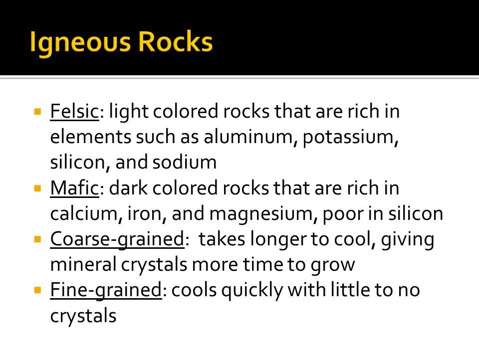 Felsic Mafic Coarse-GrainedFine-Grained Granite Gabbro Basalt Rhyolite
