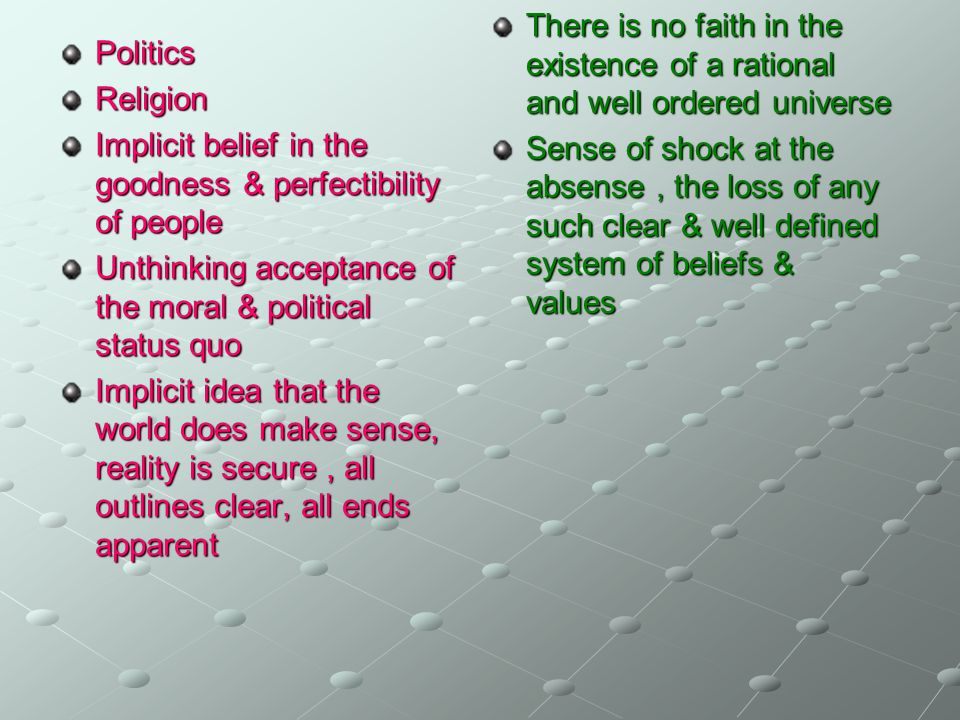Politics Religion Implicit belief in the goodness & perfectibility of people Unthinking acceptance of the moral & political status quo Implicit idea t