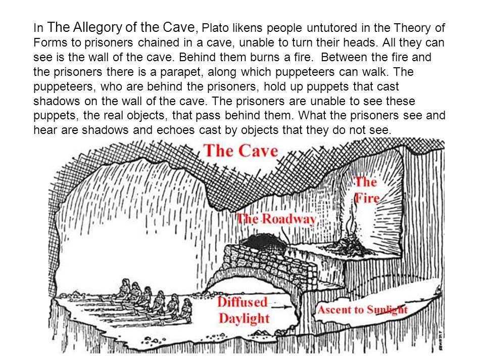 In The Allegory of the Cave, Plato likens people untutored in the Theory of Forms to prisoners chained in a cave, unable to turn their heads. All they