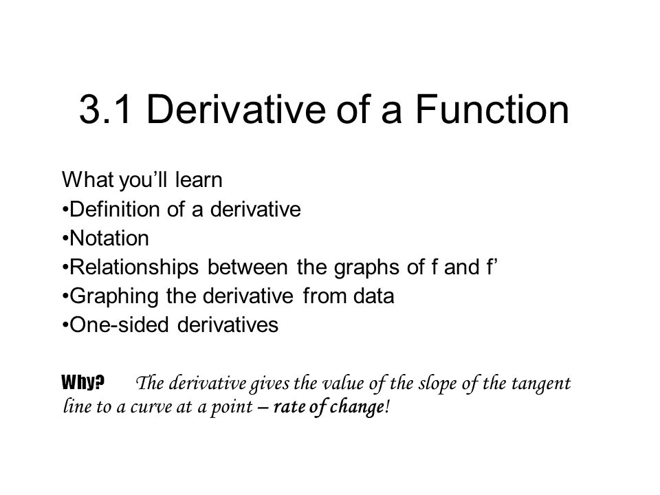 3.1 Derivative of a Function What youll learn Definition of a derivative Notation Relationships between the graphs of f and f Graphing the derivative