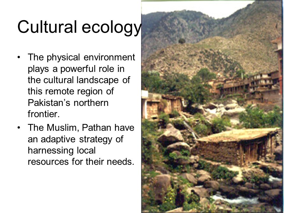 Cultural ecology The physical environment plays a powerful role in the cultural landscape of this remote region of Pakistans northern frontier. The Mu