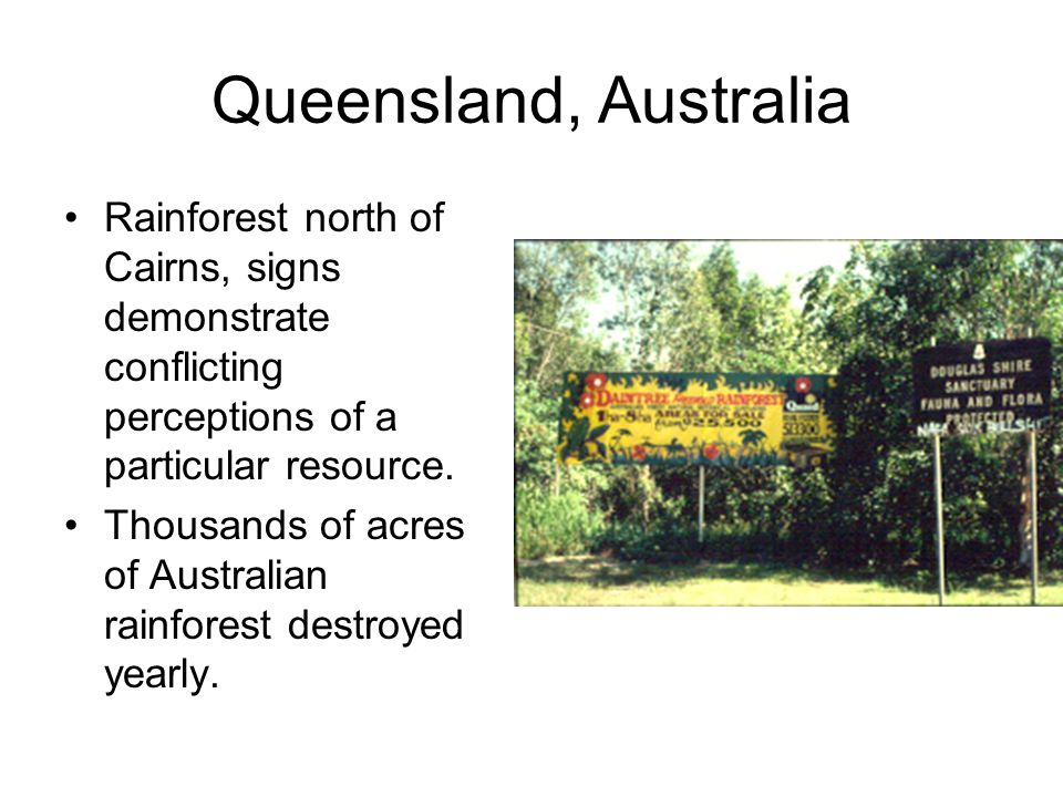 Queensland, Australia Rainforest north of Cairns, signs demonstrate conflicting perceptions of a particular resource. Thousands of acres of Australian