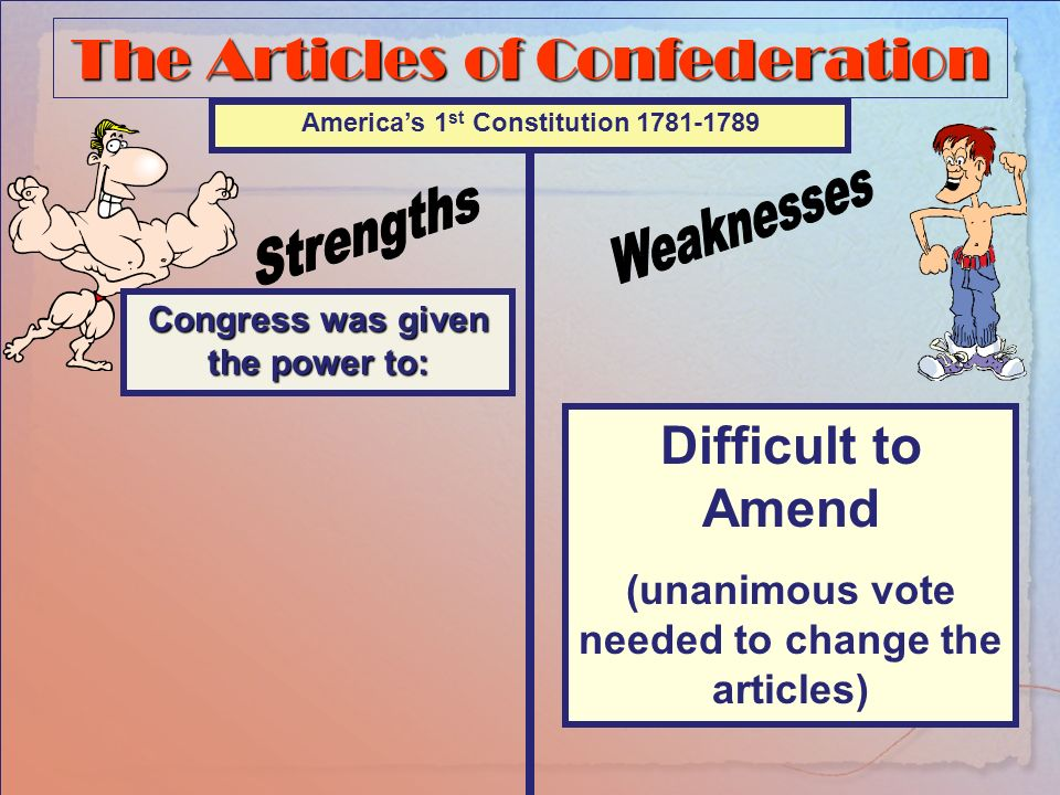 The Articles of Confederation Congress was given the power to: Americas 1 st Constitution 1781-1789 No Chief Executive No national court system No Power to Regulate Interstate Commerce No National Currency Difficult to Pass laws (2/3 vote)