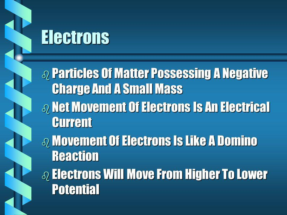 Electrons b Particles Of Matter Possessing A Negative Charge And A Small Mass b Net Movement Of Electrons Is An Electrical Current b Movement Of Electrons Is Like A Domino Reaction b Electrons Will Move From Higher To Lower Potential