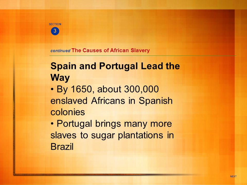 NEXT Spain and Portugal Lead the Way By 1650, about 300,000 enslaved Africans in Spanish colonies Portugal brings many more slaves to sugar plantation
