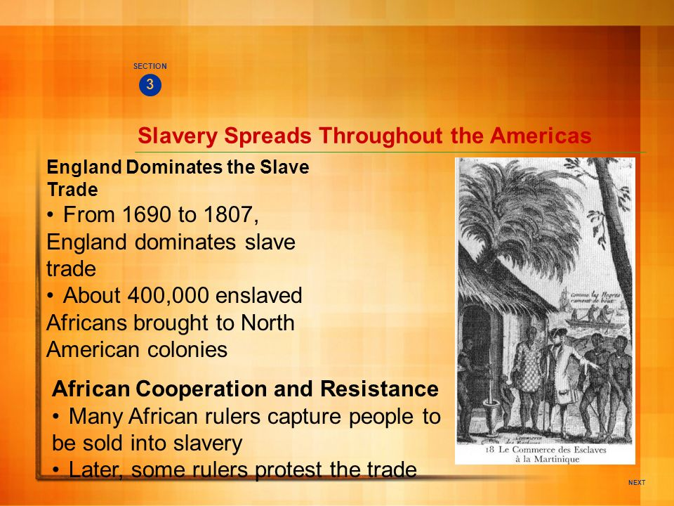 NEXT Slavery Spreads Throughout the Americas England Dominates the Slave Trade From 1690 to 1807, England dominates slave trade About 400,000 enslaved
