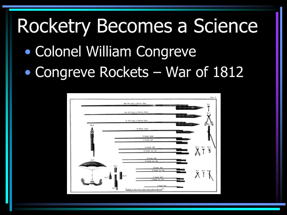 Rocketry Becomes a Science Colonel William Congreve Congreve Rockets – War of 1812