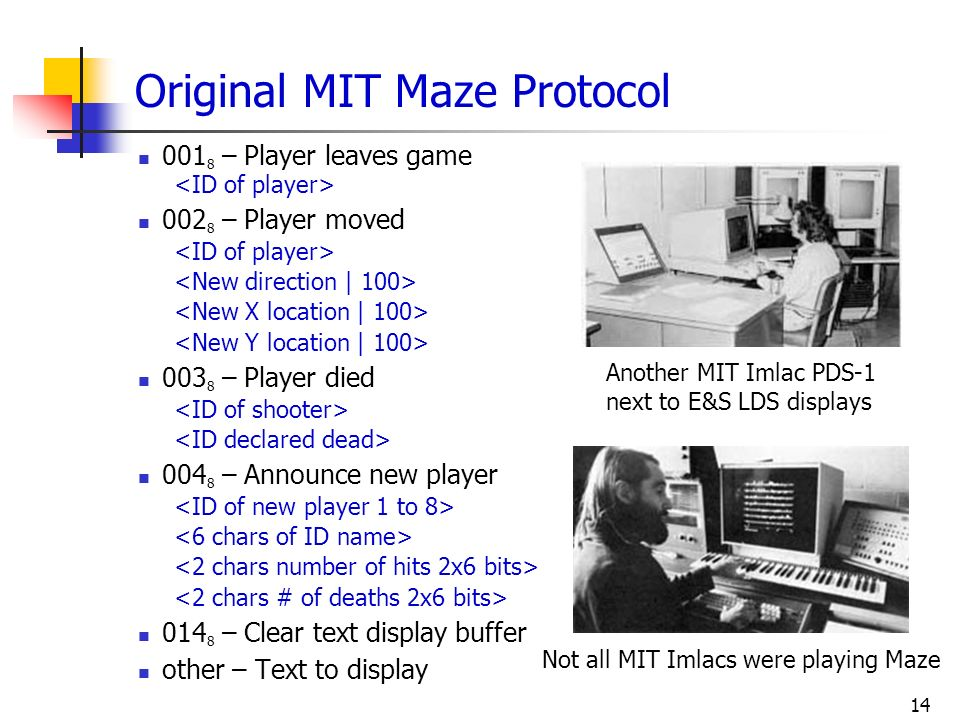 14 Original MIT Maze Protocol 001 8 – Player leaves game 002 8 – Player moved 003 8 – Player died 004 8 – Announce new player 014 8 – Clear text displ
