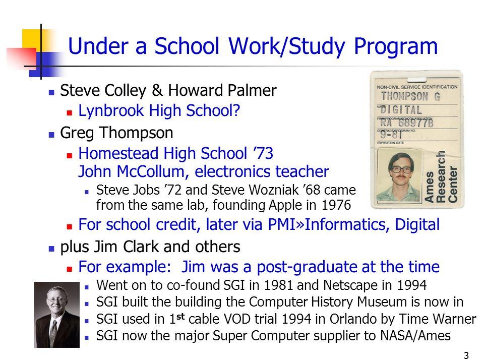 3 Under a School Work/Study Program Steve Colley & Howard Palmer Lynbrook High School? Greg Thompson Homestead High School 73 John McCollum, electroni