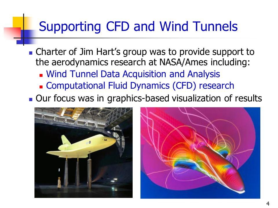 4 Supporting CFD and Wind Tunnels Charter of Jim Harts group was to provide support to the aerodynamics research at NASA/Ames including: Wind Tunnel D