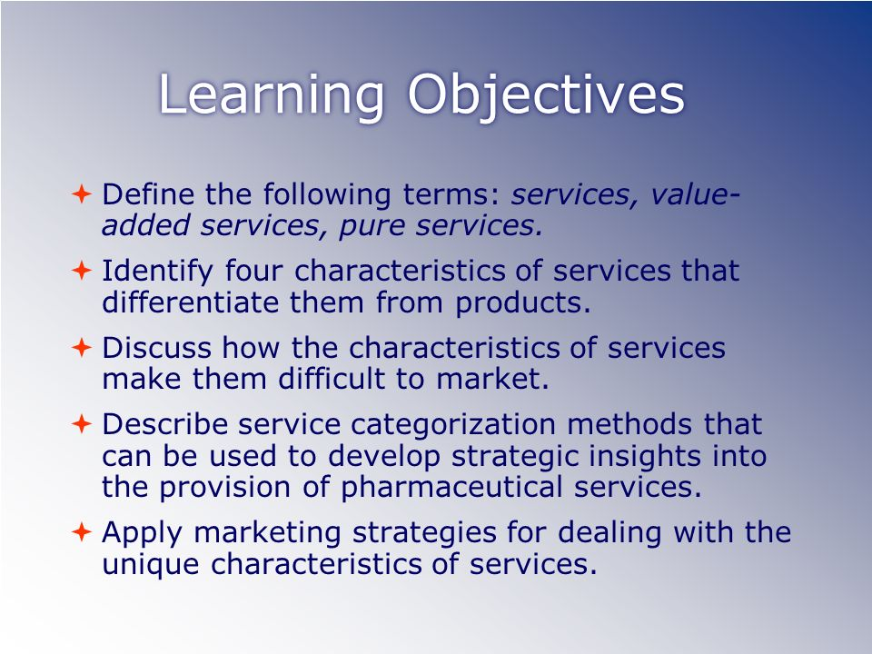 Learning Objectives Define the following terms: services, value- added services, pure services.