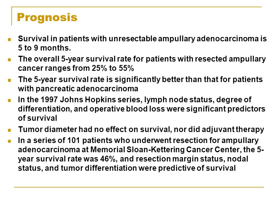 Prognosis Survival in patients with unresectable ampullary adenocarcinoma is 5 to 9 months. The overall 5-year survival rate for patients with resecte