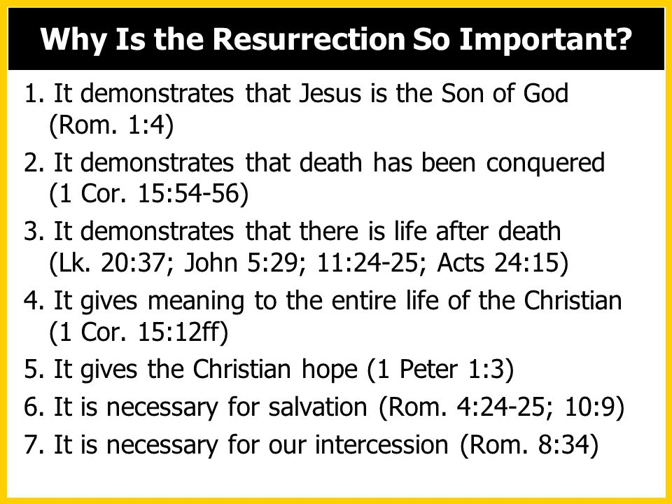 1. It demonstrates that Jesus is the Son of God (Rom. 1:4) 2. It demonstrates that death has been conquered (1 Cor. 15:54-56) 3. It demonstrates that