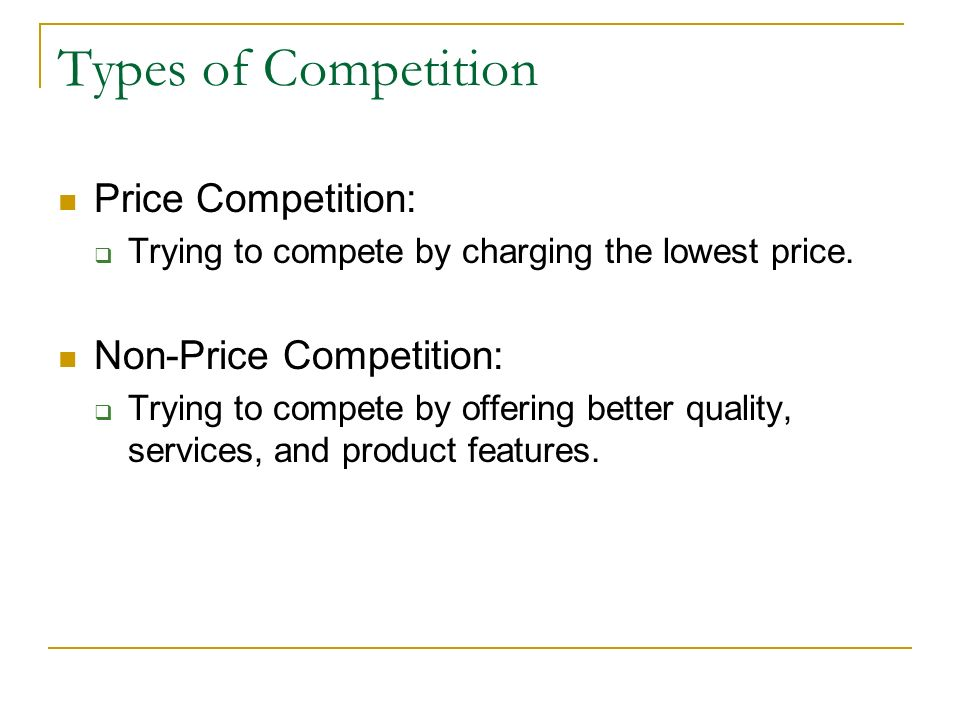 Competition Sellers try to make a profit. Buyers try to buy quality goods at the lowest possible prices. Competition is the rivalry between sellers fo