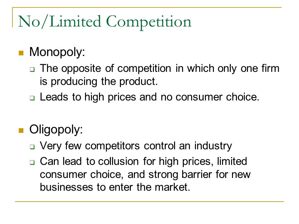 Types of Competition Price Competition: Trying to compete by charging the lowest price. Non-Price Competition: Trying to compete by offering better qu