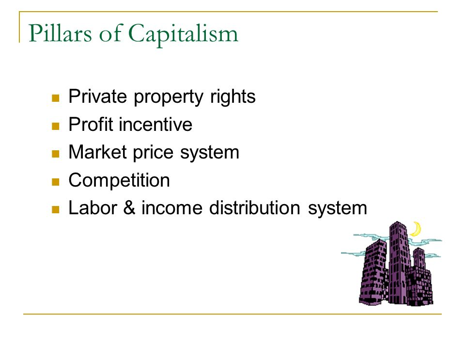 Pillars of Capitalism Private property rights Profit incentive Market price system Competition Labor & income distribution system