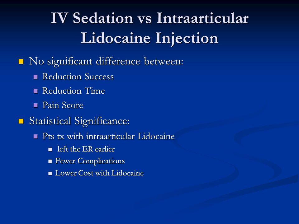 IV Sedation vs Intraarticular Lidocaine Injection Intra-articular Lidocaine Injection is Preferred over IV Sedation