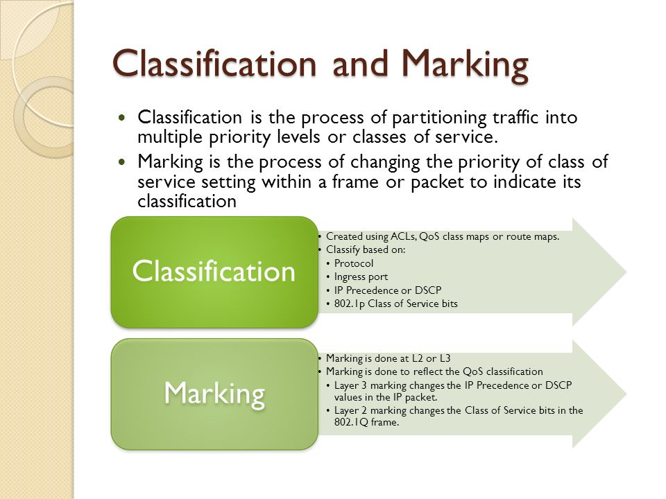Classification and Marking Classification is the process of partitioning traffic into multiple priority levels or classes of service. Marking is the p