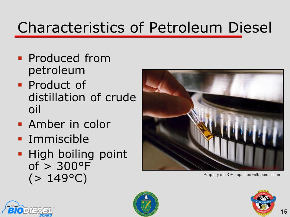 Characteristics of Petroleum Diesel Produced from petroleum Product of distillation of crude oil Amber in color Immiscible High boiling point of > 300