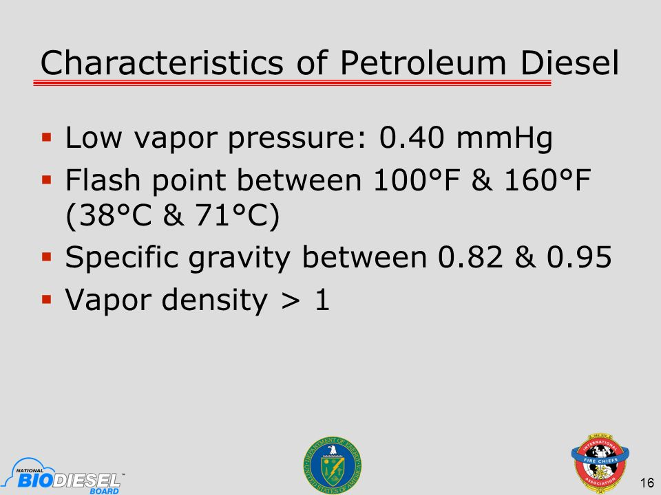 Characteristics of Petroleum Diesel Low vapor pressure: 0.40 mmHg Flash point between 100°F & 160°F (38°C & 71°C) Specific gravity between 0.82 & 0.95