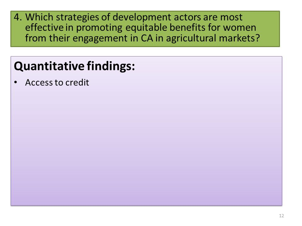 4.Which strategies of development actors are most effective in promoting equitable benefits for women from their engagement in CA in agricultural mark