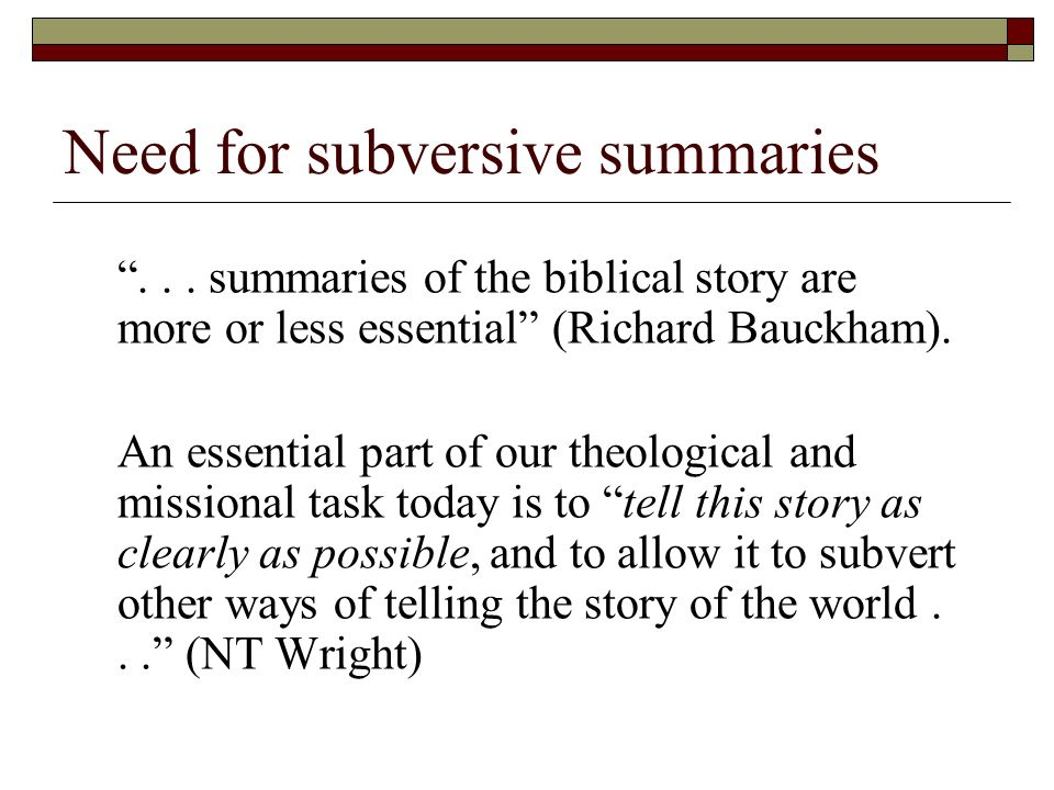 Need for subversive summaries...