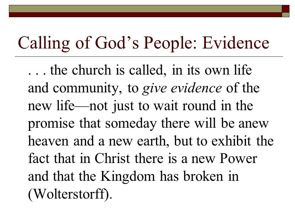 Calling of Gods People: Evidence...