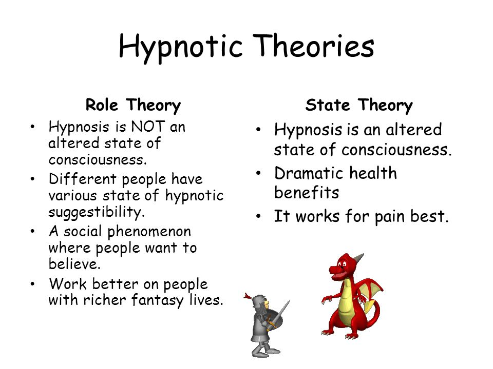 Hypnotic Theories Role Theory Hypnosis is NOT an altered state of consciousness. Different people have various state of hypnotic suggestibility. A soc