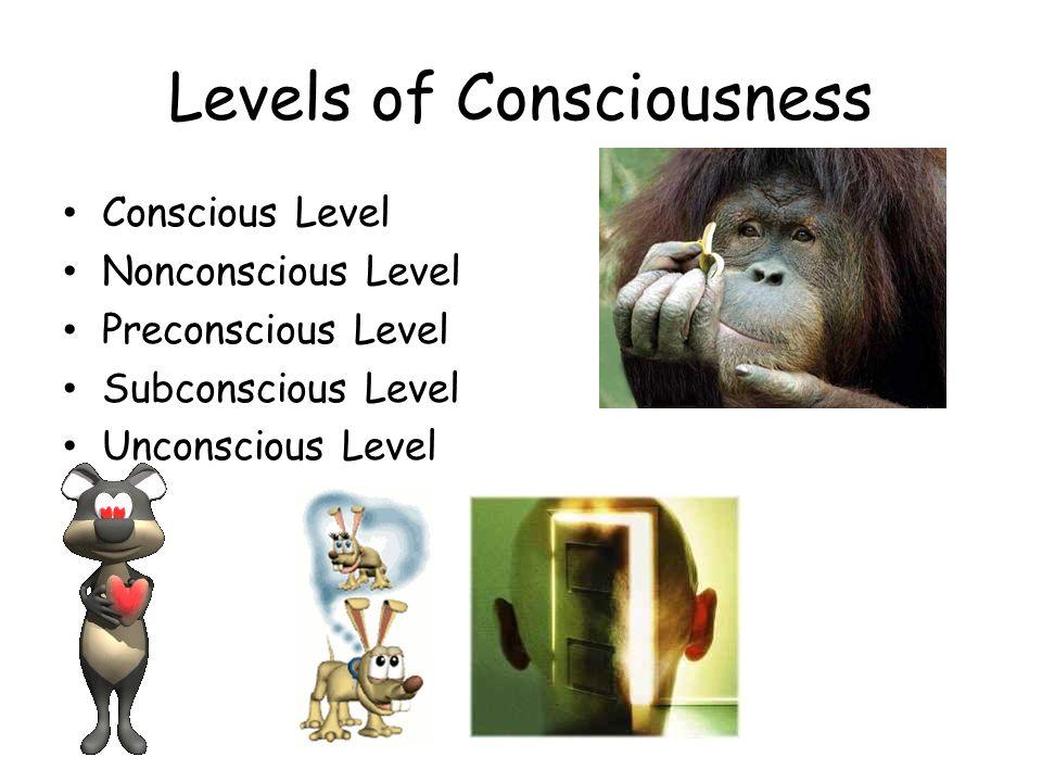 Levels of Consciousness Conscious Level Nonconscious Level Preconscious Level Subconscious Level Unconscious Level
