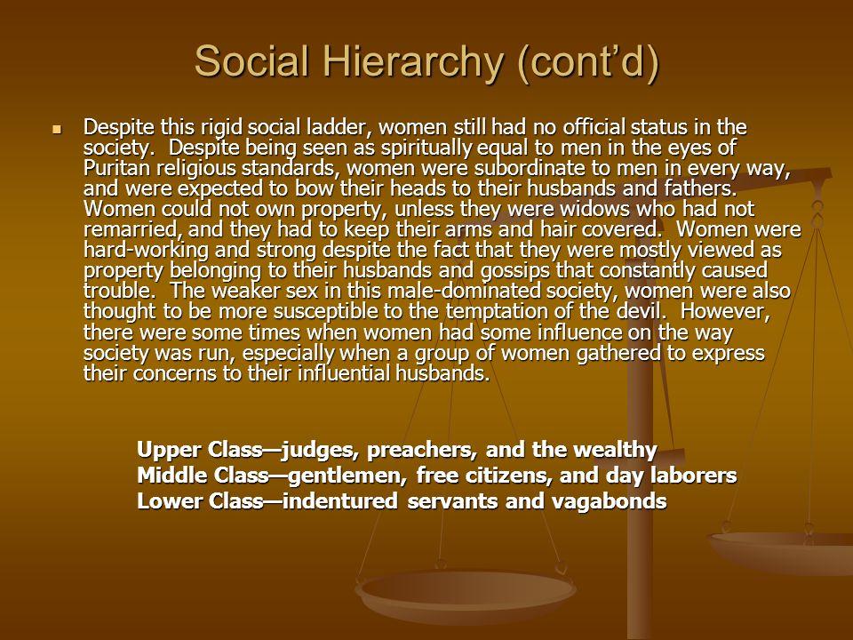 Social Hierarchy (contd) Despite this rigid social ladder, women still had no official status in the society. Despite being seen as spiritually equal