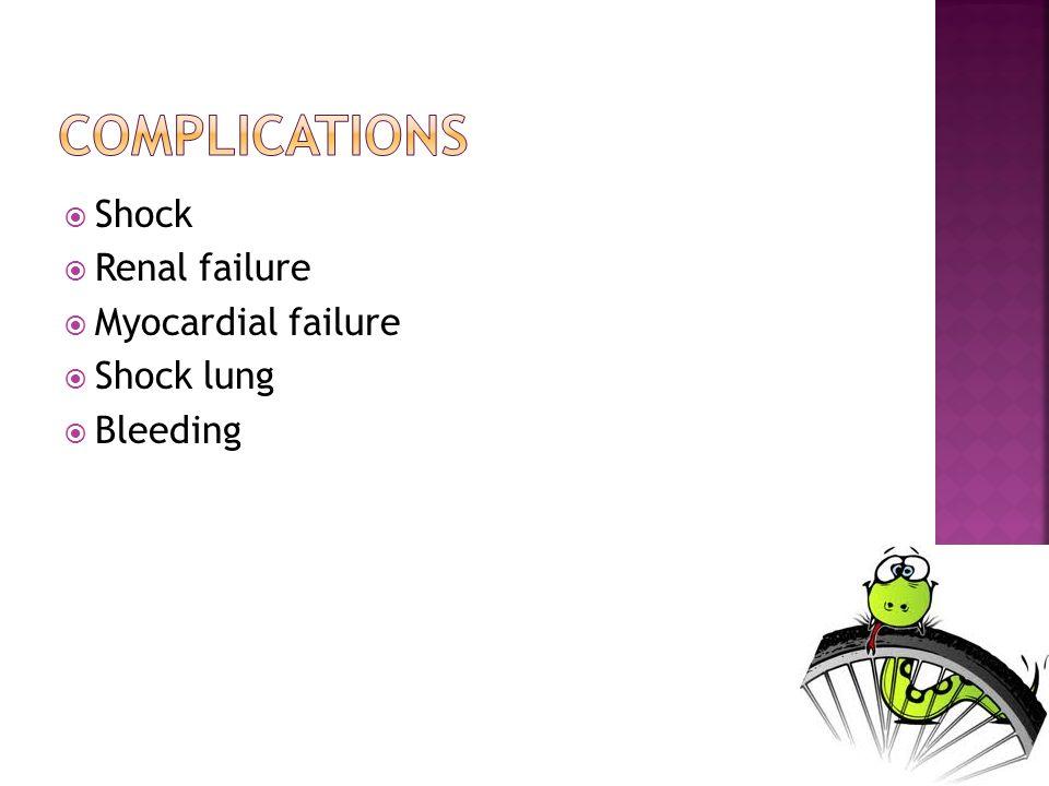 Shock Renal failure Myocardial failure Shock lung Bleeding