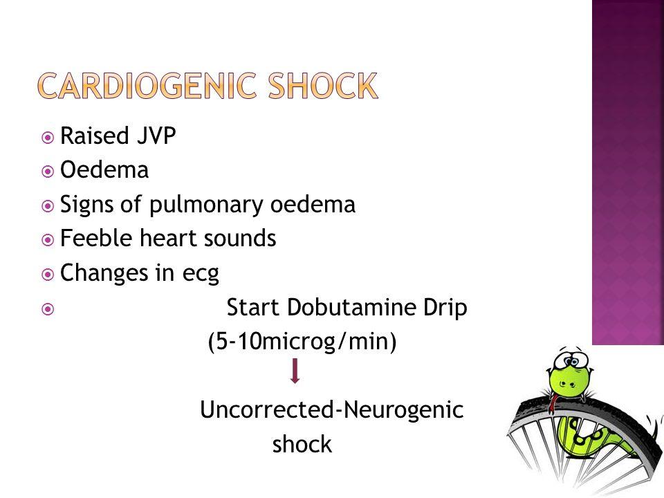Raised JVP Oedema Signs of pulmonary oedema Feeble heart sounds Changes in ecg Start Dobutamine Drip (5-10microg/min) Uncorrected-Neurogenic shock