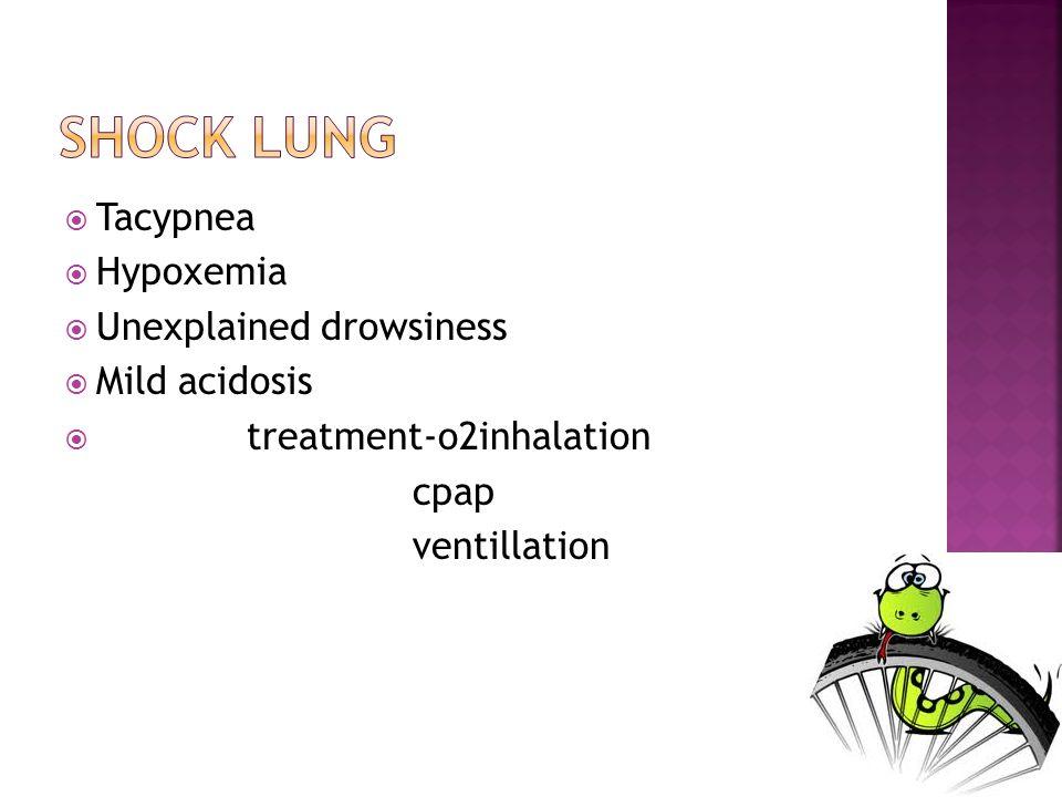 Tacypnea Hypoxemia Unexplained drowsiness Mild acidosis treatment-o2inhalation cpap ventillation