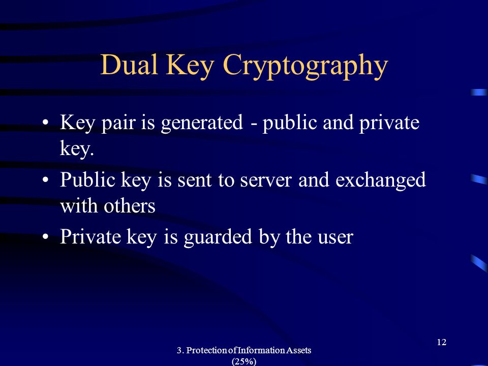 3. Protection of Information Assets (25%) 12 Dual Key Cryptography Key pair is generated - public and private key. Public key is sent to server and ex