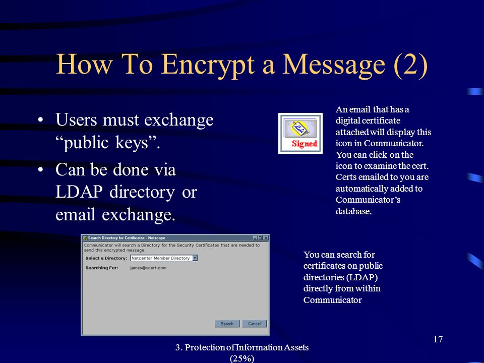 3. Protection of Information Assets (25%) 17 How To Encrypt a Message (2) Users must exchange public keys. Can be done via LDAP directory or email exc
